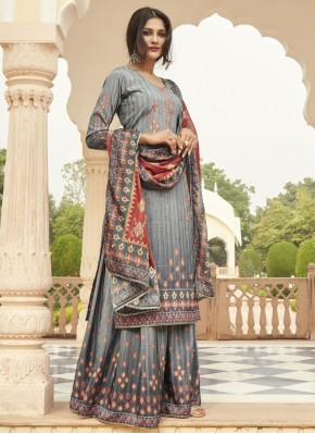 Refreshing Faux Crepe Ceremonial Designer Palazzo Suit