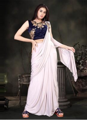 Refreshing Sequins Lycra Off White Classic Designer Saree