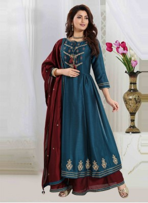 Refreshing Teal Embroidered Readymade Suit