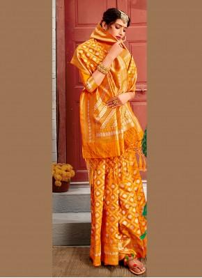 Refreshing Yellow Ceremonial Designer Traditional Saree