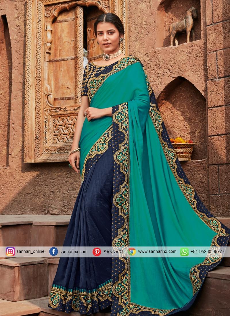 Refreshing Zari Silk Blue Designer Saree