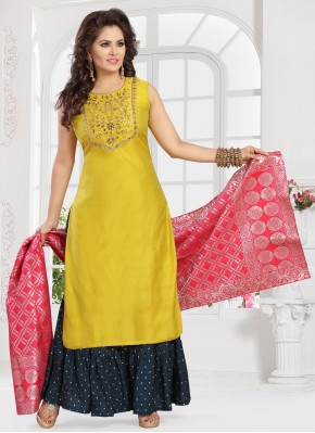 Regal Embroidered Yellow Readymade Suit