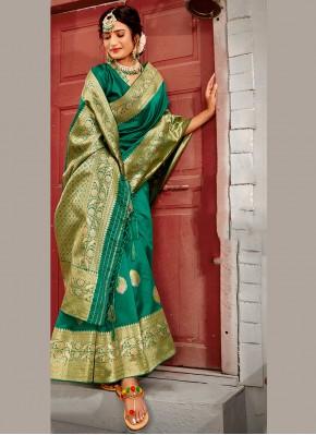 Regal Green Weaving Designer Traditional Saree