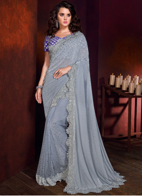 Regal Grey Trendy Saree