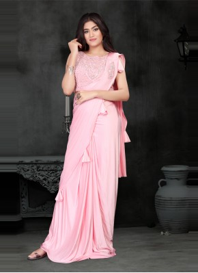 Regal Lycra Sequins Peach Classic Designer Saree