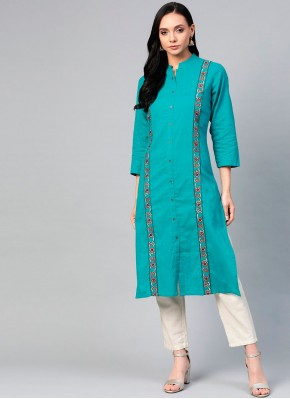 Regal Sea Green Embroidered Party Wear Kurti