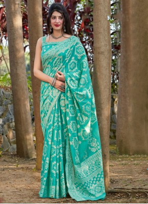 Regal Sea Green Printed Silk Traditional Saree