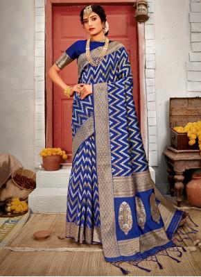 Remarkable Blue Designer Traditional Saree