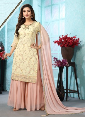 Remarkable Embroidered Chiffon Designer Ready made Palazzo Dress for Wedding