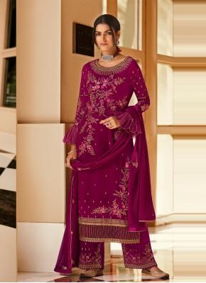 Remarkable Embroidered Magenta Designer Pakistani Salwar Suit