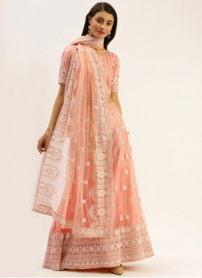 Remarkable Embroidered Peach Net Bollywood Lehenga Choli
