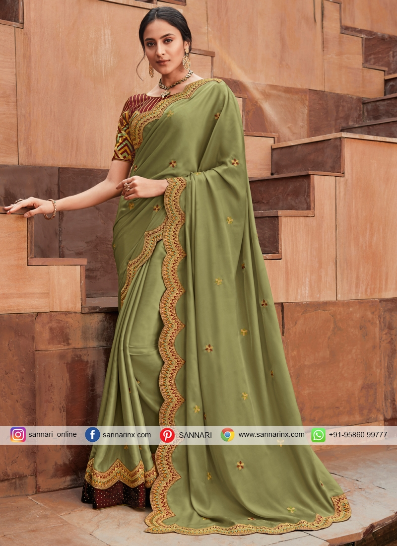 Remarkable Green Patch Border Silk Classic Saree