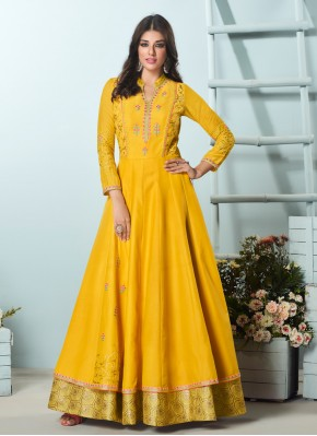 Remarkable Maslin Silk Yellow Embroidered Party Wear Kurti