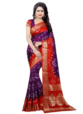 Renowned Art Silk Purple and Red Designer Traditional Saree