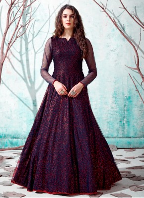 Renowned Navy Blue Festival Designer Gown