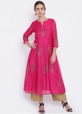 Renowned Print Hot Pink Chanderi Party Wear Kurti