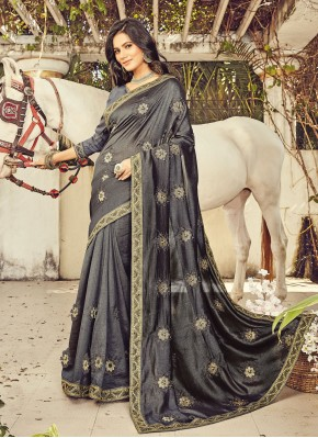 Renowned Resham Grey Silk Classic Designer Saree