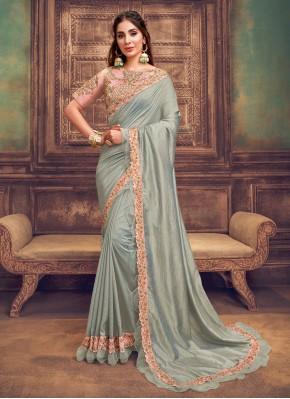 Renowned Resham Grey Silk Classic Saree