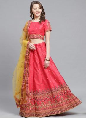 Renowned Silk Embroidered Pink Trendy Lehenga Choli