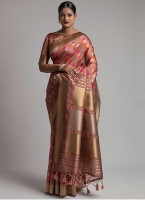 Renowned Tussar Silk Weaving Salmon Traditional Saree