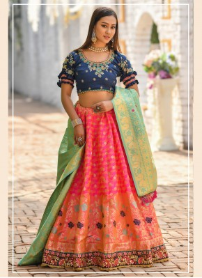 Resham Banarasi Silk Bollywood Lehenga Choli in Pink