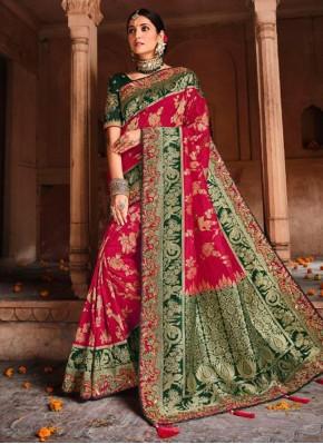 Resham Banarasi Silk Designer Traditional Saree in Rani