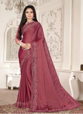 Resham Fancy Fabric Designer Saree in Pink
