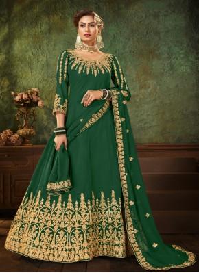Resham Faux Georgette Floor Length Anarkali Suit in Green