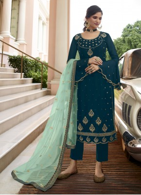 Resham Faux Georgette Pant Style Suit in Blue