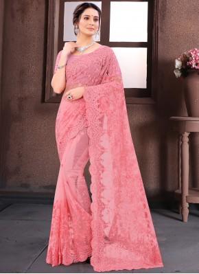 Resham Net Classic Saree in Pink