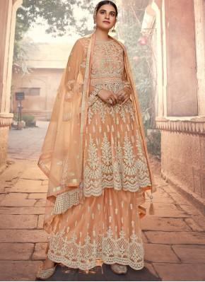 Resham Net Designer Pakistani Suit in Peach