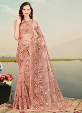 Resham Net Designer Saree in Peach