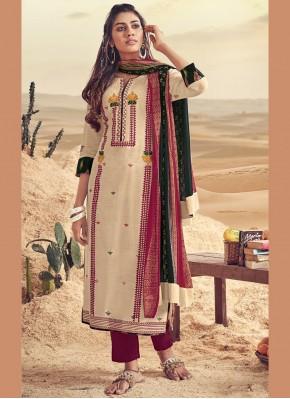 Resham Polly Cotton Designer Straight Suit in Cream