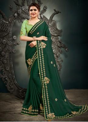 Resham Satin Silk Designer Saree in Green