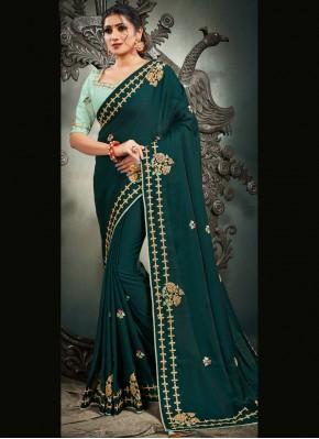 Resham Satin Silk Designer Traditional Saree in Rama