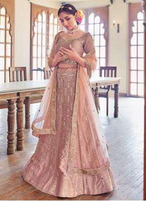 Resham Silk Lehenga Choli in Rose Pink