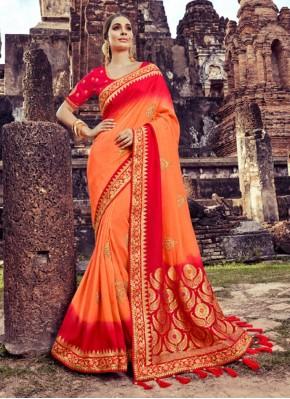 Resham Silk Saree in Orange