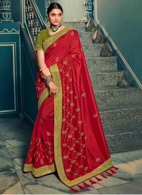 Resham Silk Traditional Saree in Red