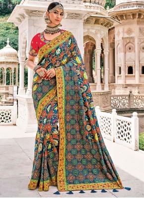Resham Silk Trendy Saree in Multi Colour