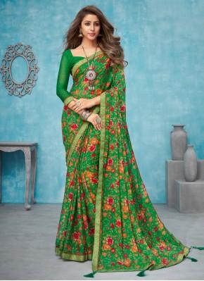 Resplendent Faux Chiffon Multi Colour Classic Designer Saree