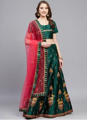 Resplendent Green Embroidered Satin Designer Lehenga Choli