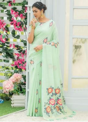 Resplendent Print Sea Green Linen Printed Saree