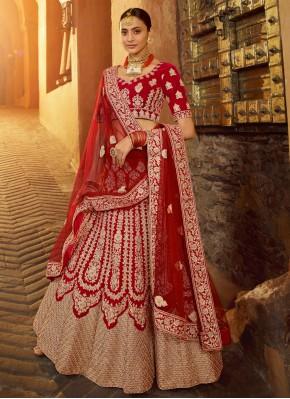 Resplendent Red Resham Designer Lehenga Choli