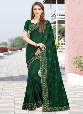 Resplendent Silk Green Embroidered Designer Contemporary Saree