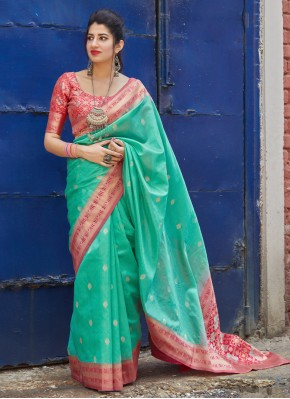 Resplendent Silk Sea Green Weaving Traditional Saree