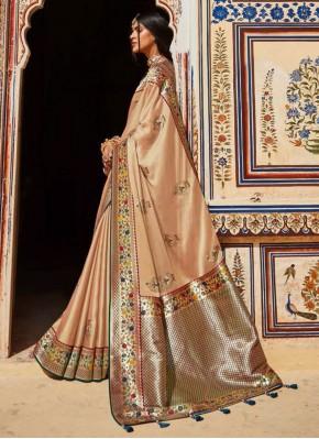 Riveting Beige Sangeet Classic Designer Saree