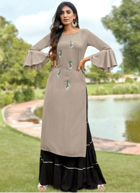 Riveting Embroidered Grey Rayon Party Wear Kurti
