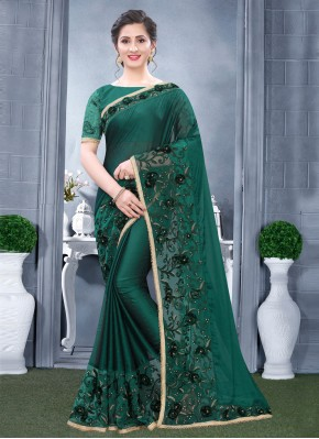 Riveting Resham Mehndi Designer Traditional Saree