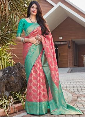 Rose Pink Color Designer Traditional Saree