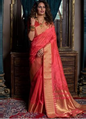 Rose Pink Handloom silk Festival Traditional Saree